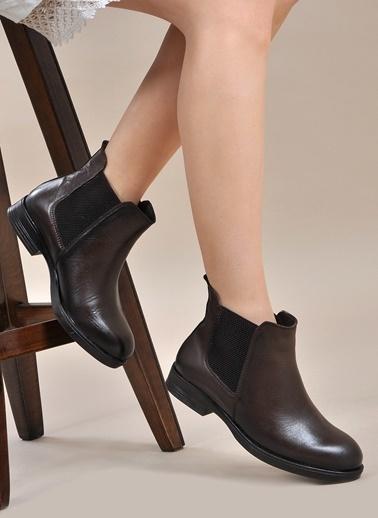 Vizon Ayakkabı Hakiki Deri Bot Kahve